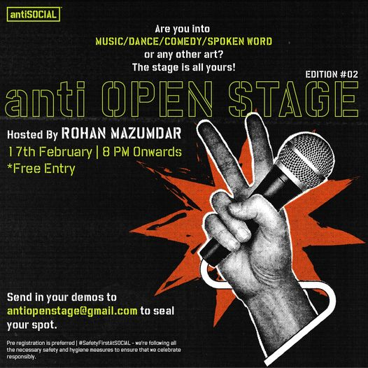 The anti OPEN STAGE: Be a part of Mumbai city's biggest OPEN MIC NIGHT at antiSOCIAL